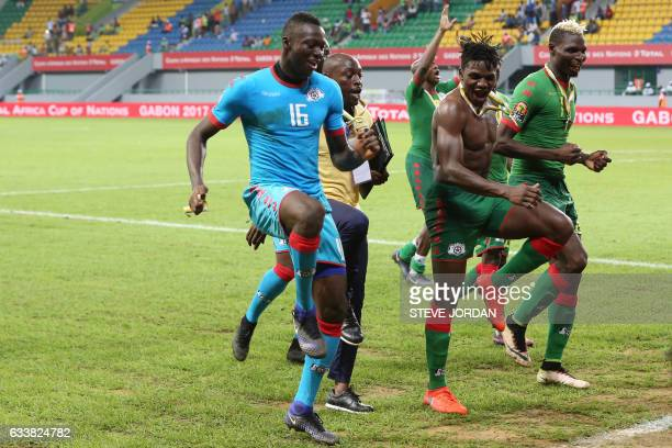 TOPSHOT Burkina Faso's players celebrate at the end of the 2017 Africa Cup of Nations third place football match between Burkina Faso and Ghana in...