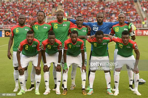 Burkina Faso's players line up ahead of the 2015 African Cup of Nations group A football match between Equatorial Guinea and Burkina Faso in Bata on...