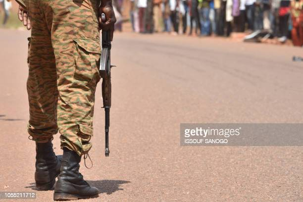Burkina Faso's soldier patrols to ensure security measures during the Burkina Faso's cycling tour, in Ouahigouya, on October 29, 2018.