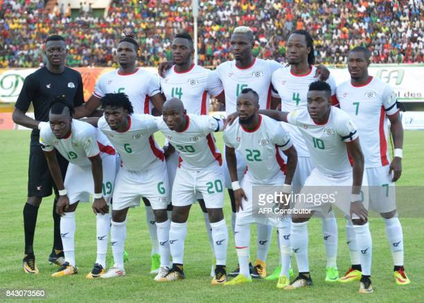 Burkina Faso's team players pose on September 5 2017 at the stade du 26 aout in Ouagadougou during the World Cup 2018 Africa qualifying football...