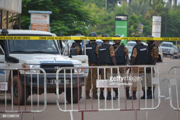 Burkinabe police patrol on August 14 2017 in Ouagadougou following a deadly attack by gunmen on a restaurant Security forces in the Burkina Faso...