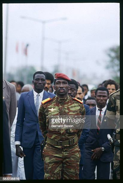 Burkinabe President Thomas Sankara at Mozambican President Samora Machel's Funeral