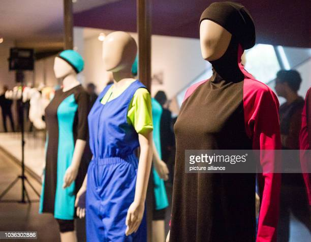 A burkini a culotte swimmer and a csuta are on display in the exhibition 'Cherchez la femme' in the Jewish Museum in Berlin Germany 30 March 2017 The...