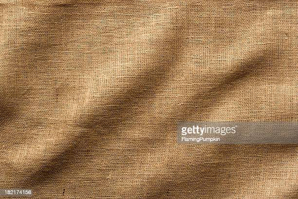 Burlap Fabric with Wrinkles, Wide Shot. Full Frame.