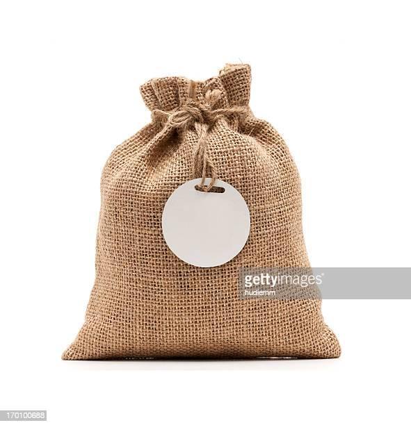 Burlap sack isolated on white background