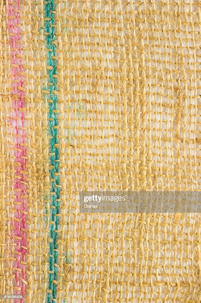 burlap texture with colored threads : Stock Photo
