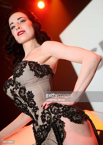 Burlesque and Fetish Star Dita von Teese performs on-stage prior to the GQ Ispovision Style night, on February 5 in Munich, Germany.