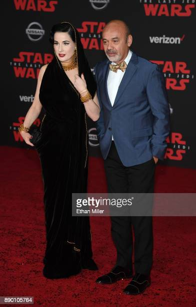 Burlesque artist Dita Von Teese and fashion designer Christian Louboutin attend the premiere of Disney Pictures and Lucasfilm's 'Star Wars The Last...