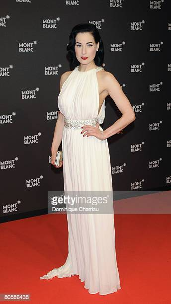 Burlesque artist Dita von Teese attends the 'Writing Time', Robert Wilson's watch launch gala hosted by Montblanc during the Salon International de...