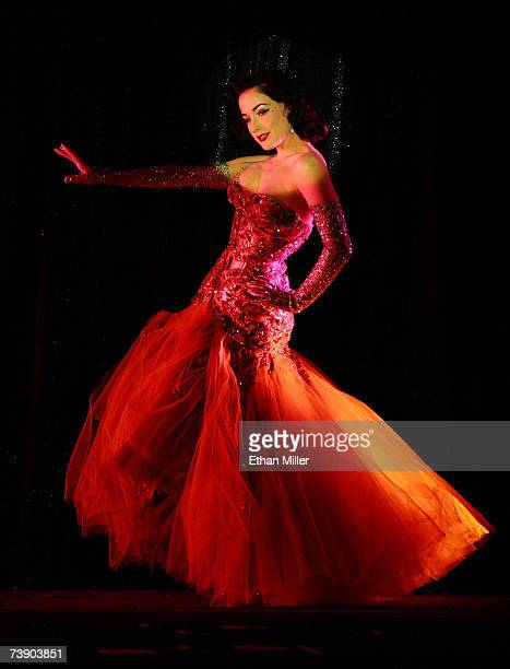 Burlesque artist Dita Von Teese performs as a guest at the MGM Grand's Crazy Horse Paris show April 16 2007 in Las Vegas Nevada