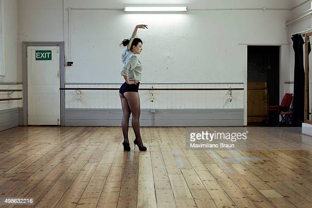 Burlesque artist Miss Betsy Rose rehearsing a new routine at the Islington Arts Factory Miss Betsy Rose usually rehearses her routines at home but...