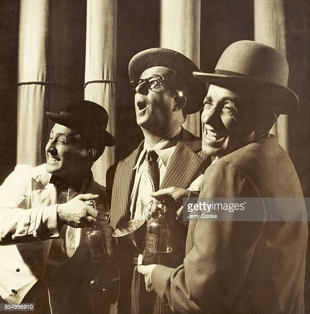 Burlesque comedians Phil Silvers Joey Faye and Herbie Faye perform their routine at the Old Howard Theater after the opening of Top Banana