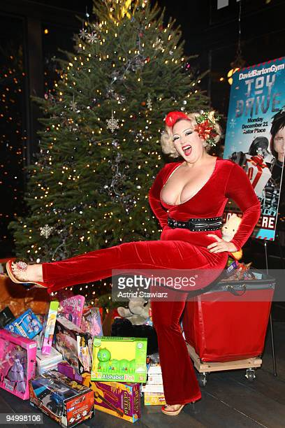 Burlesque dancer Dirty Martini attends DavidBartonGym's toy drive for kids at DavidBartonGym on December 21 2009 in New York City
