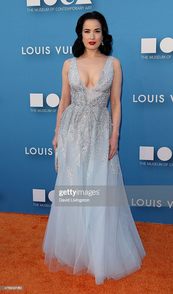 Burlesque dancer Dita Von Tee attends the MOCA Gala 2015 presented by Louis Vuitton at The Geffen Contemporary at MOCA on May 30, 2015 in Los Angeles, California.