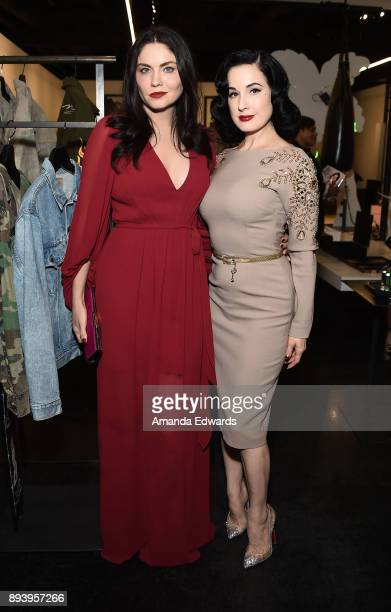 Burlesque dancer Dita Von Teese and actress Jodi Lyn O'Keefe attend the launch of Dita Von Teese and luxury fragrance brand Heretic Parfum's candle...