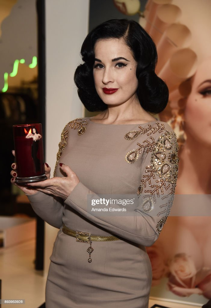 Burlesque dancer Dita Von Teese and luxury fragrance brand Heretic Parfum launch their candle and fragrance collaboration Scandalwood at Maxfield on December 16, 2017 in Los Angeles, California.