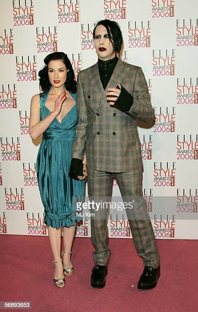 Burlesque dancer Dita Von Teese and singer Marilyn Manson arrives at the ELLE Style Awards 2006 the fashion magazine's annual awards celebrating...