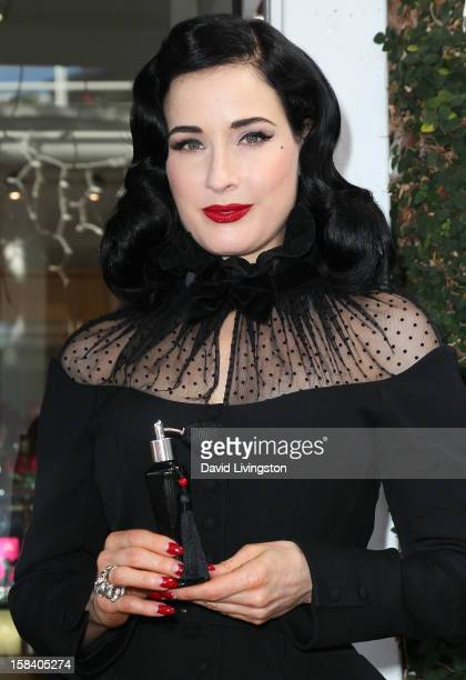 Burlesque dancer Dita Von Teese attends the US launch of her fragrance 'Rouge' at Apothia by Ron Robinson at Fred Segal Melrose on December 15 2012...