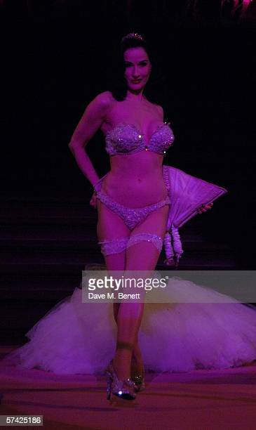 Burlesque dancer Dita Von Teese performs at the Blush Ball raising funds for the construction of a third Breast Cancer Haven in North England at the...