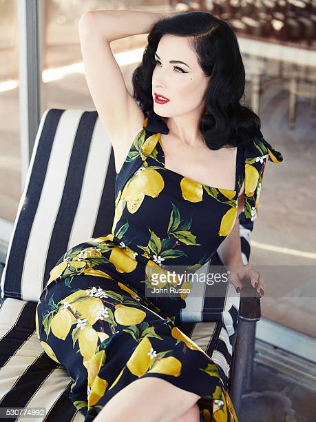 Burlesque dancer model costume designer and entrepreneur Dita Von Teese is photographed for Hello UK on November 1 2015 in Los Angeles California