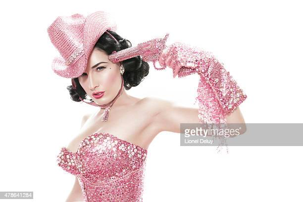 Burlesque dancer model costume designer Dita Von Teese is photographed for Self Assignment on September 7 2007 in Los Angeles California