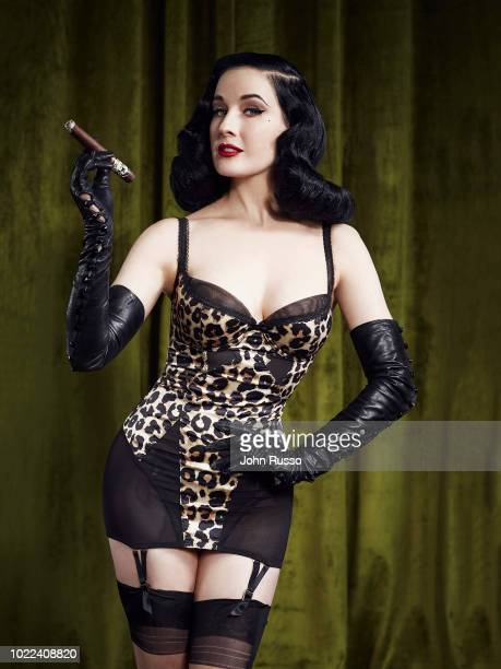 Burlesque dancer model costume designer entrepreneur singer and actor Dita Von Teese is photographed for Cigars and Spirits magazine on January 11...