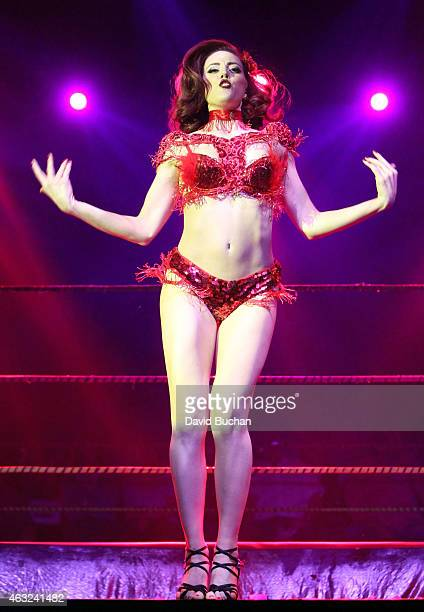Burlesque dancer Olivia Bellafontaine performs at Luca VaVOOM Valentine's Show Dangerous/Beautiful at The Mayan on February 11 2015 in Los Angeles...