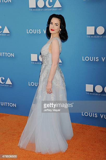 Burlesque dancer/model Dita Von Teese arrives at the 2015 MOCA Gala presented by Louis Vuitton at The Geffen Contemporary at MOCA on May 30 2015 in...