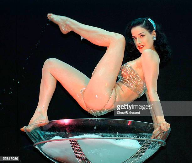 Burlesque performance artist Dita Von Teese gives her Champagne Glass Performance for the launch of Harvey Nichols in the Dundrum Town Centre...
