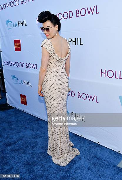 Burlesque performer Dita Von Teese arrives at the Hollywood Bowl Opening Night and Hall of Fame Inductions event at the Hollywood Bowl on June 21...