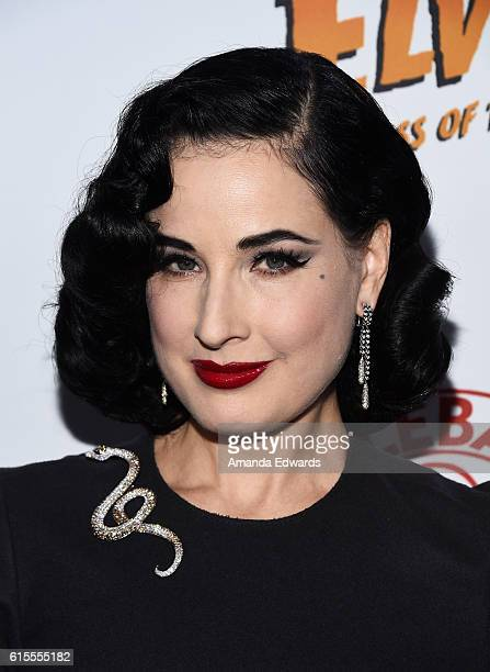 Burlesque performer Dita Von Teese attends the launch party for Cassandra Peterson's new book Elvira Mistress Of The Dark at the Hollywood Roosevelt...