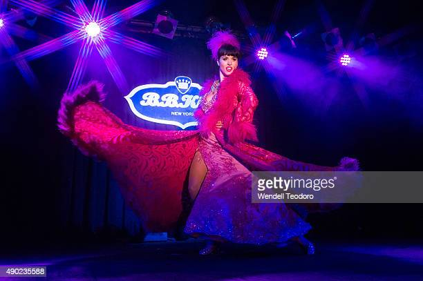 Burlesque performer Ginger Valentine performs at The Saturday Spectacular show during the 13th Annual New York Burlesque Festival at BB King Blues...
