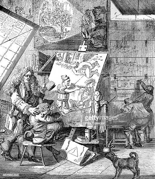 'Burlesque sur le burlesque avec privilege du roi December 1st 1753' An art critic watches Hogarth painting a cherub pissing on the sparking chamber...