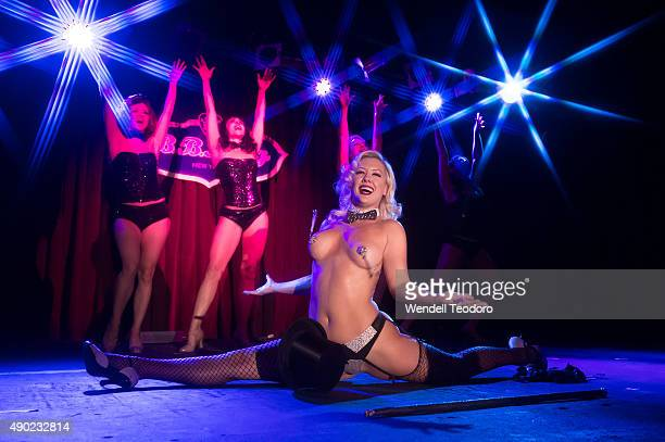 Burlesque troupe The PeekABoo Revue performs at The Saturday Spectacular show during the 13th Annual New York Burlesque Festival at BB King Blues...