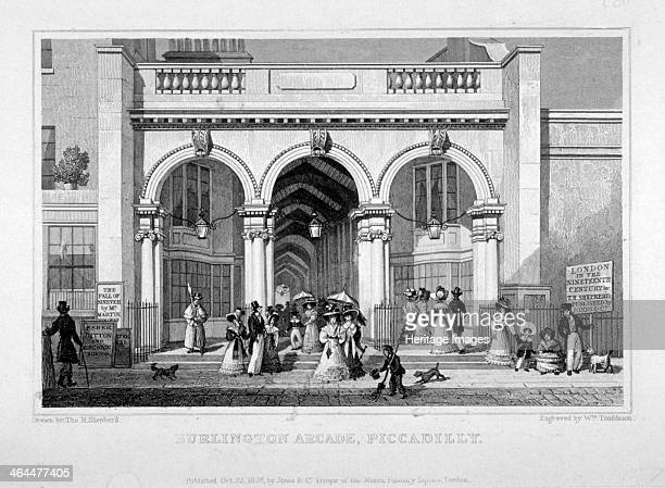 Burlington Arcade Westminster London 1828 View of the Burlington Arcade off Piccadilly with figures passing by