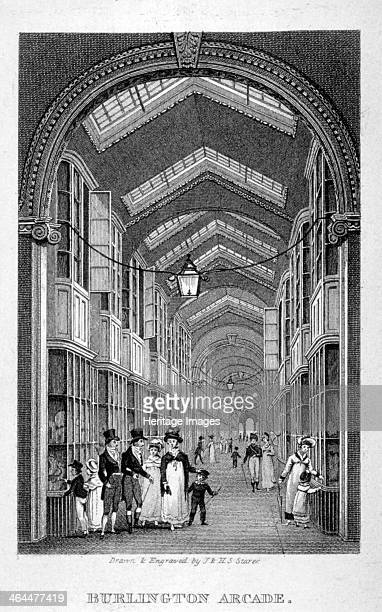 Burlington Arcade Westminster London c1825 Interior view of Burlington Arcade off Piccadilly with figures walking through it