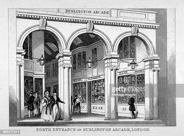 Burlington Arcade Westminster London c1825 View of the north entrance to the arcade off Piccadilly with figures walking through it including a couple...