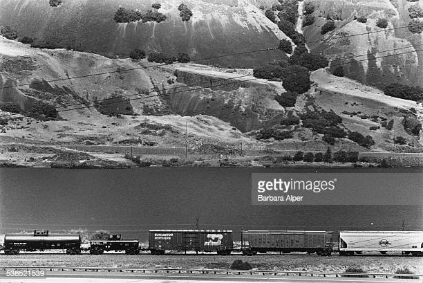 A Burlington Northern Railroad container by the Hood River in Oregon August 1987