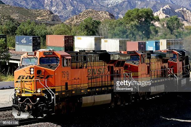 A Burlington Northern Santa Fe train moves through Cajon Pass near San Bernardino California US on Tuesday Nov 3 2009 Warren Buffett's Berkshire...