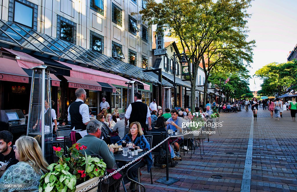 Burlington, Vermont, Church Street downtown with restaurants and tourists outdoors at café : News Photo