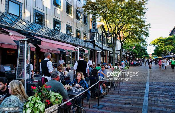 Burlington Vermont Church Street downtown with restaurants and tourists outdoors at café