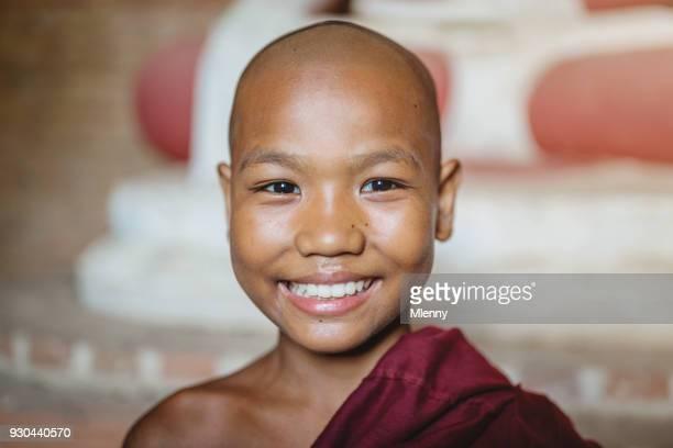 Burma Happy Novice Monk Myanmar Portrait
