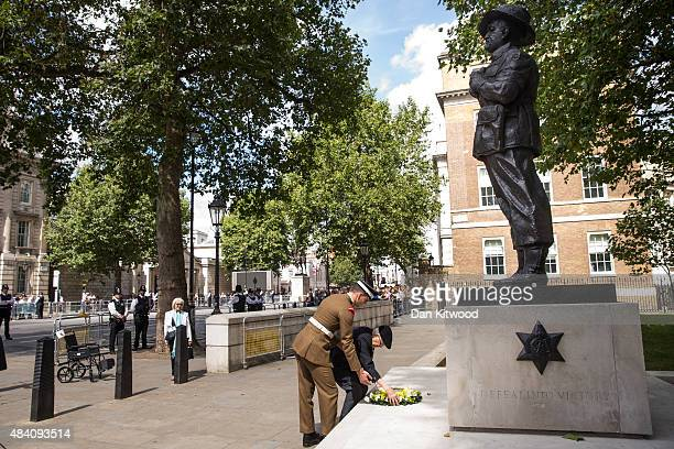 Burma Star Veteran Richard De Renzy Channer lays a wreath at the statue of Field Marshall Slim during the 70th Anniversary commemorations of VJ Day...
