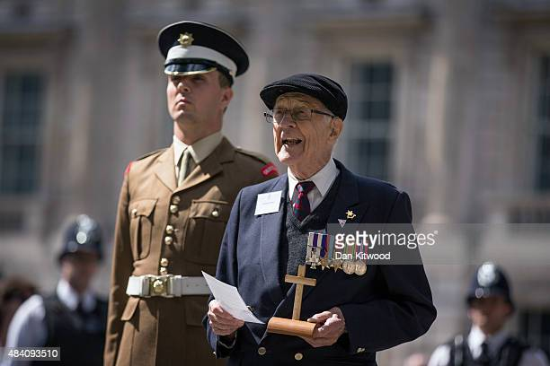 Burma Star Veteran Richard De Renzy Channer reads a poem at the statue of Field Marshall Slim after laying a wreath during the 70th Anniversary...