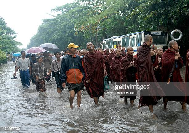 Burmese Buddhist monks protesting against the military junta are marching in a street of Rangoon flooded by heavy monsoon rain..