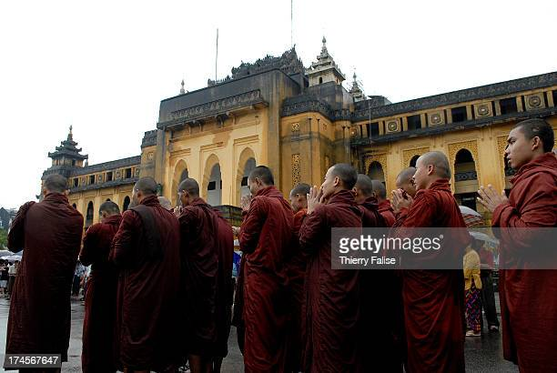 Burmese Buddhist monks protesting against the military junta are gathering near the Sule pagoda one of the most popular in Rangoon