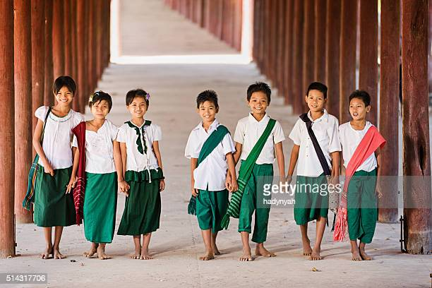 Burmese children going to the school
