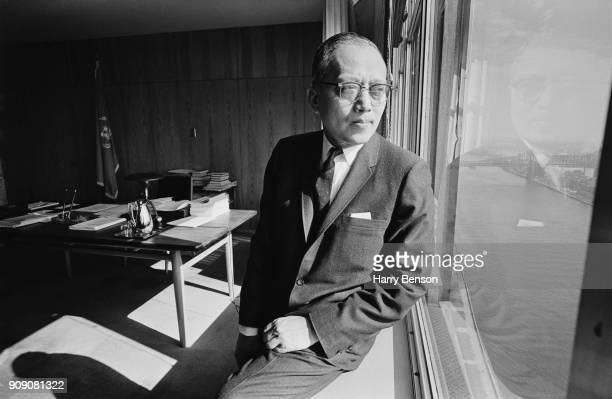 Burmese diplomat and Secretary-General of the United Nations U Thant in his office, US, 19th November 1968.