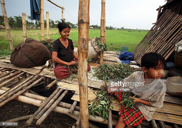 Burmese family prepares for food in the remains of their damaged house on May 12 in Maubin Myanmar It has been estimated that more than 100000 people...