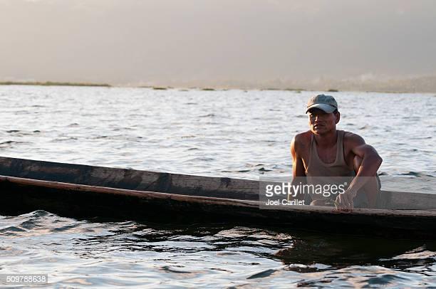 Burmese man on Inle Lake